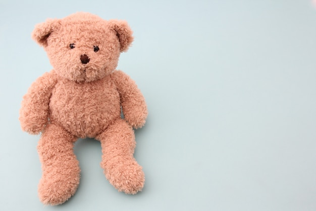 Teddy bear on blue