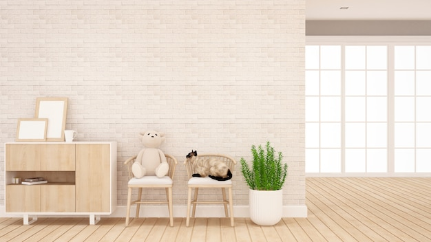 Teddy bear and cat on chair in living room or kid room - interior design for artwork