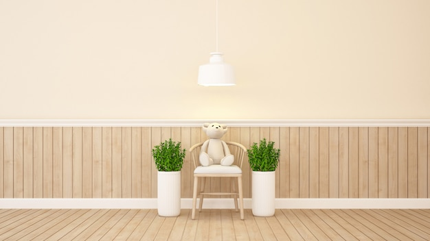 Teddy bear on chair in home or apartment - 3d rendering