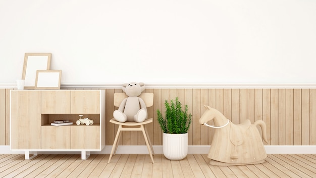 Teddy bear on chair in kid room or coffee shop - 3d rendering