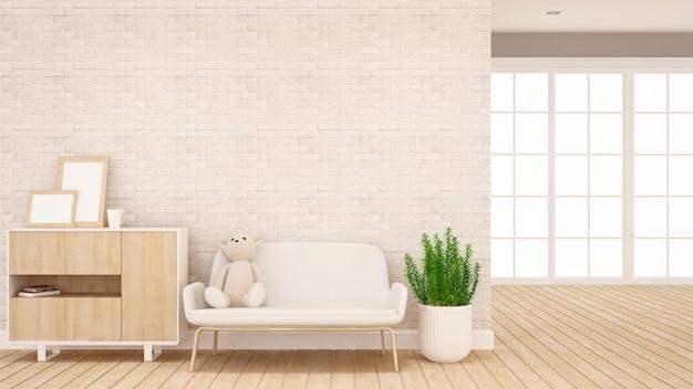 Кукла плюшевого мишку на диване в гостиной - дизайн интерьера для художественных работ - 3d рендеринг