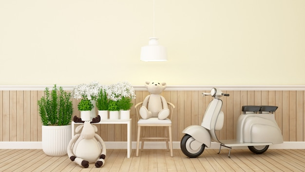 Teddy bear and giraffe in study room or coffee shop - 3d rendering