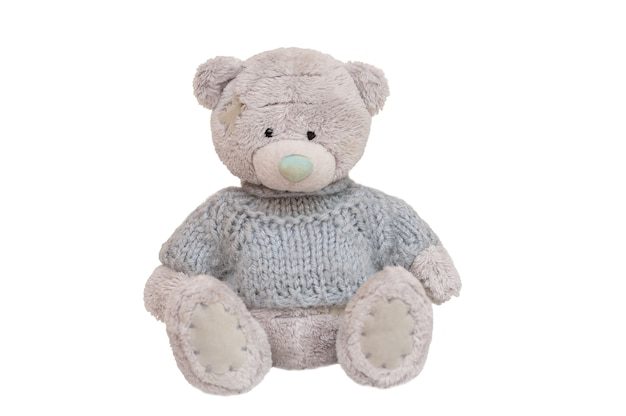 Teddy bear gray dressed in a sweater isolated on white