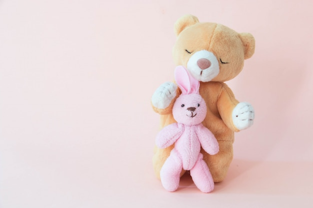 A teddy bear is hugging rabbit with a pink background