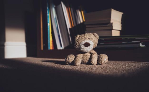 Плюшевый мишка садится на ковер рядом с размытым фоном книжных полок в ретро-фильтре