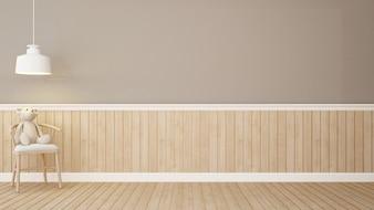 茶色の部屋の椅子にテディベア3Dレンダリング