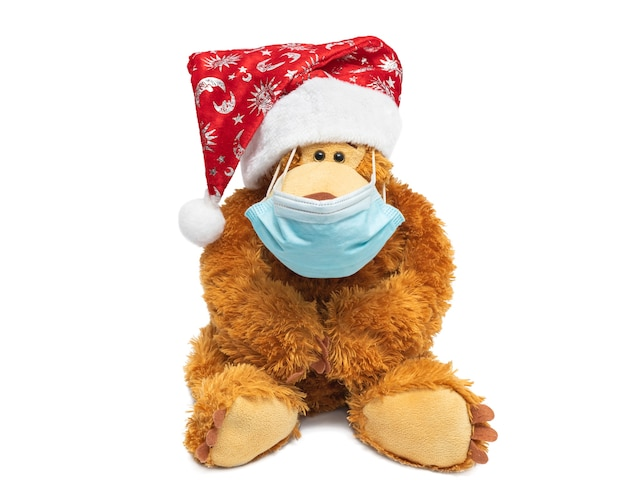 Teddy bear in santa hat and surgical mask on a white background.