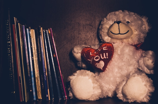 A teddy bear sitting on a book shelf