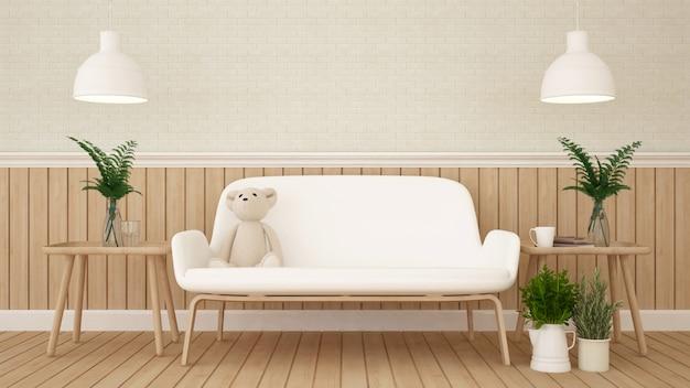 Teddy bear on sofa in living room or coffee shop - 3d rendering