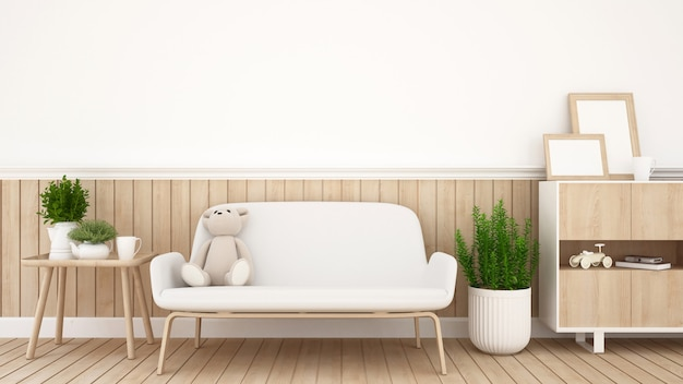 Teddy bear on sofa in living room or coffee shop - 3d rendering