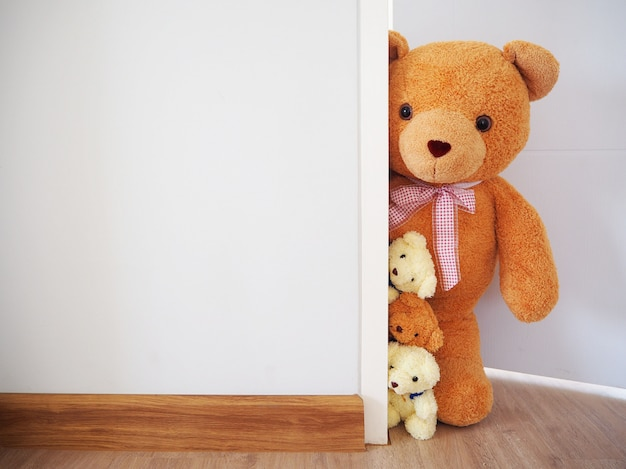The teddy bear stood secretly behind the wall.