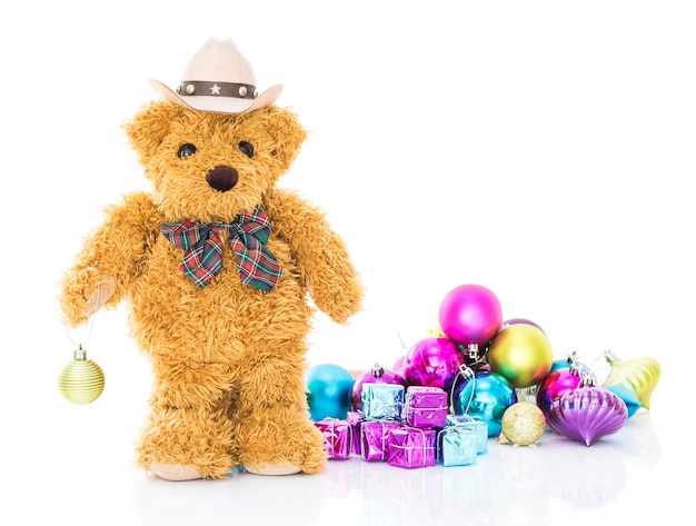 Teddy bear with gifts and ornaments christmas