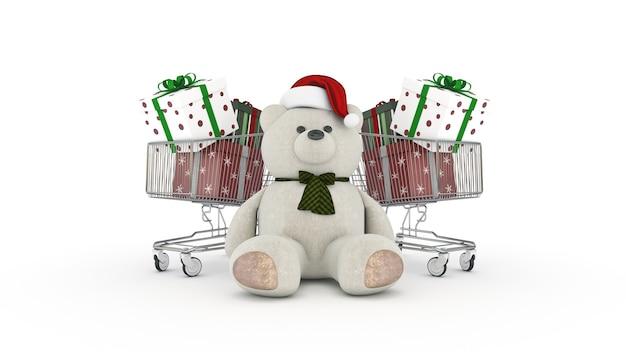 サンタの帽子とショッピングカートの3dレンダリングとテディベア