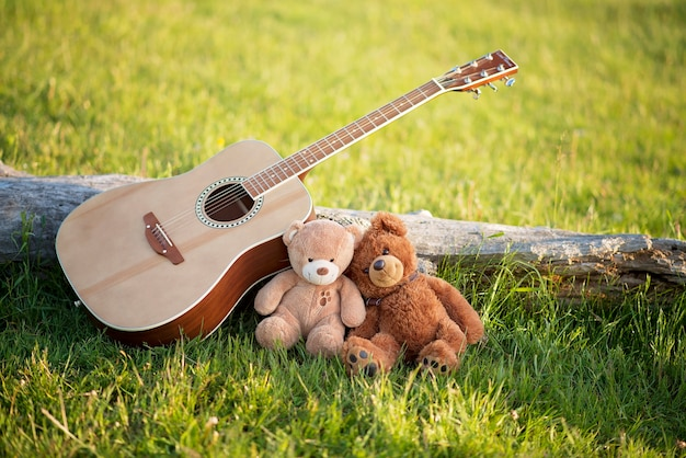 Teddy bears in love in the grass with a guitar on a summer sunny day. concept of love and fidelity.