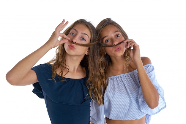 Teen best friends girls fun hair moustache