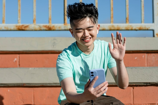 Teen boy live streaming, online content creator