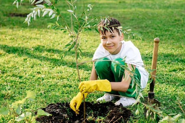Мальчик-подросток сажает дерево в парке