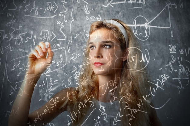 Teen girl calculating