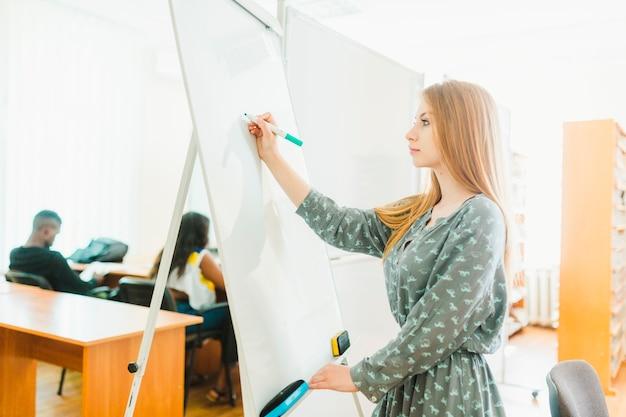 Teen girl making notes on whiteboard