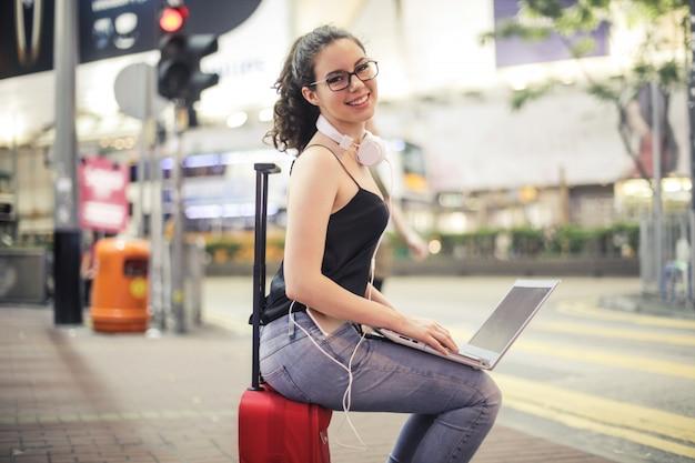 Teen girl traveling