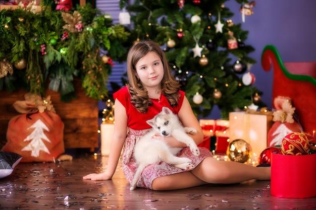 Teen girl with husky dog next to christmas tree