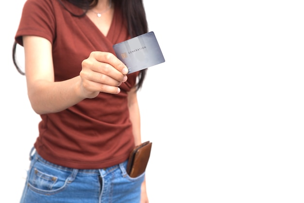Teen new age pay with credit card isolated on white.