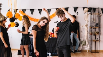 Teenage alloween party with vampires