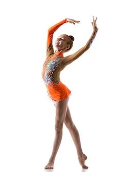 Teenage ballerina girl dancing
