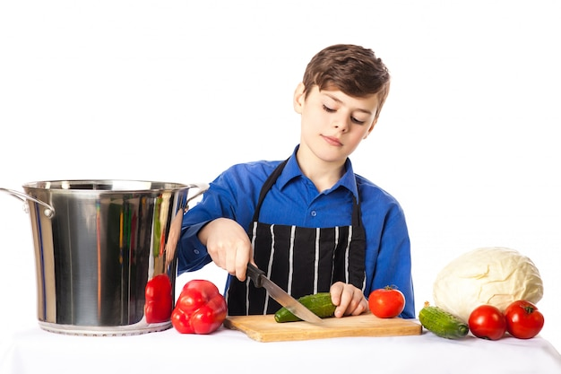 Teenage boy in cook chef hat and apron adds condiment to salad bowl on cutting board surrounded by vegetables and spices isolated