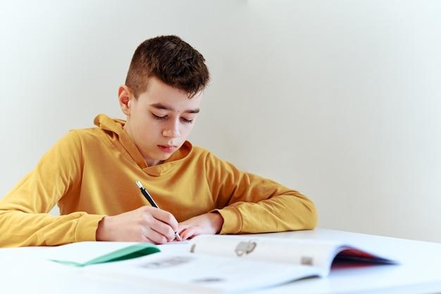 Teenage boy doing homework at home