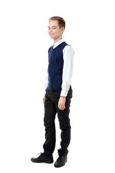 흰색 배경에 교복을 입은 10대 소년