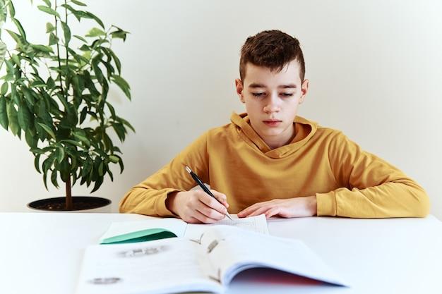 家で宿題を書いている10代の少年。教育の概念