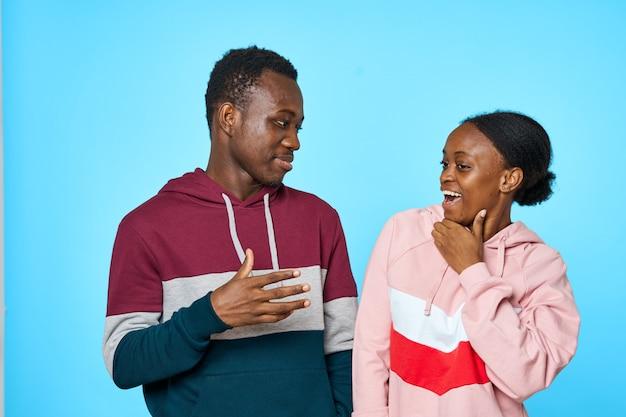 Teenage couple laughing