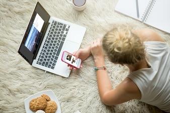 Teenage girl browsing social media