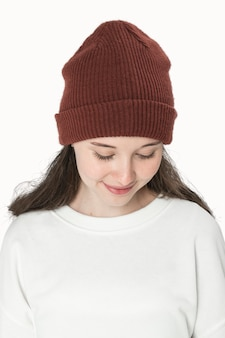 Teenage girl in color beanie for youth apparel shoot