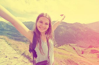 Teenage girl feel freedom.