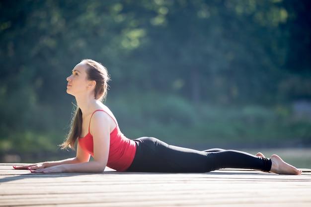 Adolescente, ragazza, sphinx, yoga, posa