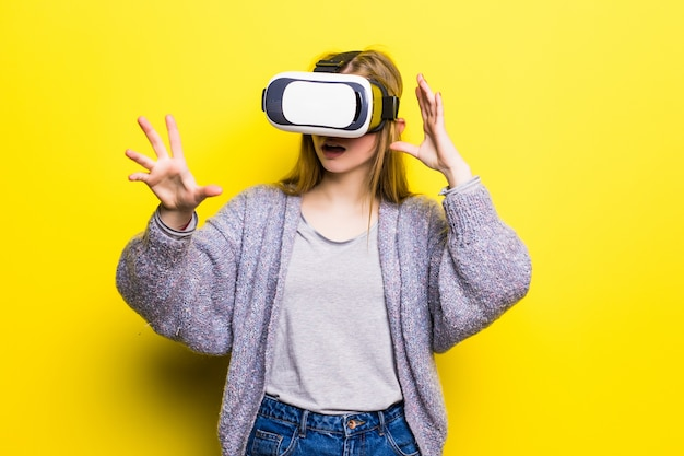 Teenage girl with virtual reality headset