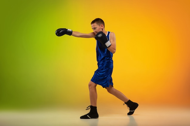 Teenage professional boxer training