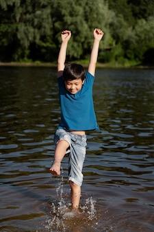 Teenager boy having fun in the summer