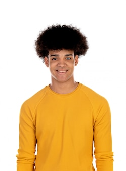 Teenager boy with yellow t-shirt