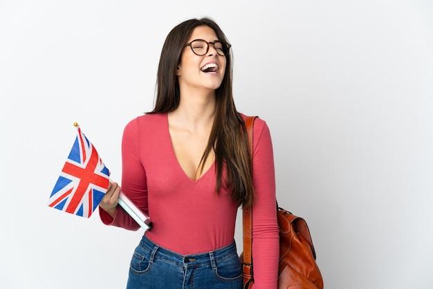 고립 된 영국 국기를 들고 십 대 브라질 소녀