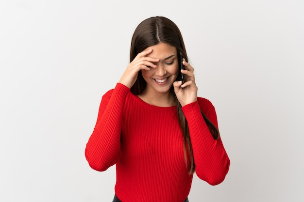 Бразильская девочка-подросток с помощью мобильного телефона изолирована от смеха