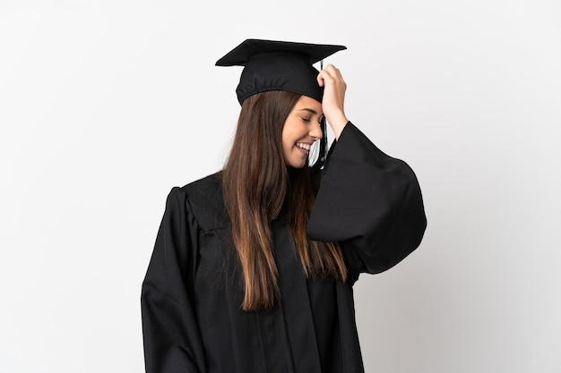 Teenager brazilian university graduate over isolated white background has realized something and intending the solution