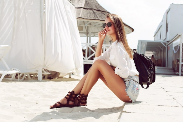 Teenager enjoying a sunny day on the beach