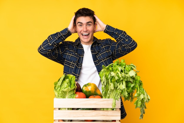 Teenager farmer man with freshly picked vegetables in a box with surprise facial expression