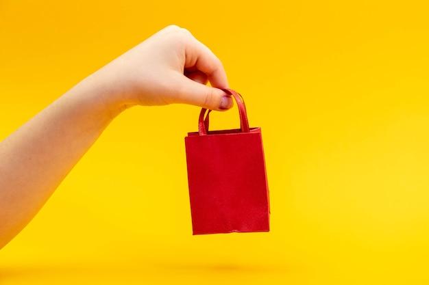 赤いギフトバッグを持っているティーンエイジャーの女性の手。バレンタインデーのコンセプト。