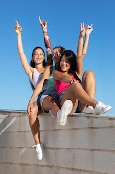Teenager friends having fun in the summer