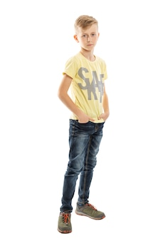 Teenager full growth. difficult transitional age. isolated on a white background. vertical.