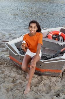 Teenager girl having fun in the summer